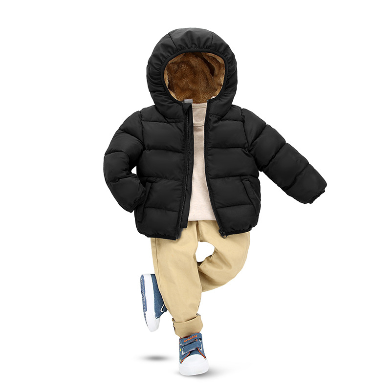 solid fleece hooded girls winter jackets for kids thick padded infant coats baby children outerwear tops for boys clothing 2-9 Y boys fleece jackets solid coat kid clothes winter coats 2017 fashion children clothing