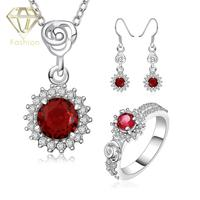 2017 New Fashion Fancy Style Silver Plated Red Crystal CZ Stone Jewelry Set Women Party Jewelry