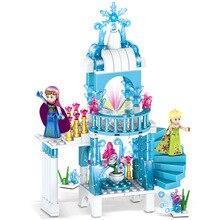 329 шт. легион duplo принцесса цифры строительные блоки снег белый замок queen мечта фантазия Эльза ледяной замок кирпичи Анны для девочек игрушки