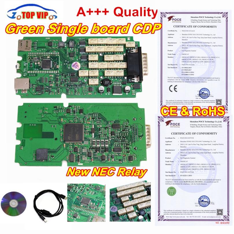 A + + + Qualité Unique Vert carte pcb TCS CDP Pro 2016.00 date + KEYGEN obd2 Scanner pour voitures et Camions Auto interface de diagnostic