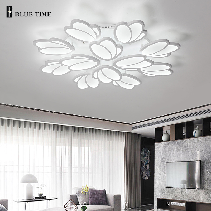 White Modern Led Chandelier For Home Living Room Bedroom Dining Room Lustres LED Chandelier Lighting Lamparas de techo Fixtures