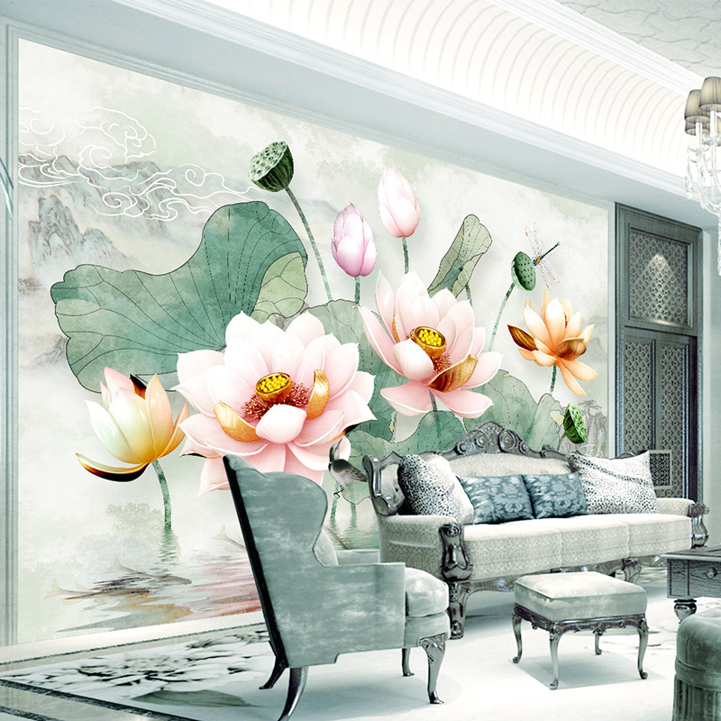 Chinese Style 3D Stereo Watercolor Lotus Mural Wallpaper Living Room TV Sofa Bedroom Backdrop Wall Home Decor Papel De Parede 3D