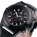 Hot Sale Multifunction Chronograph Watch for Men ORKINA All Black Military F1 Race Design Leather Band Luminous Hands Sub-dial