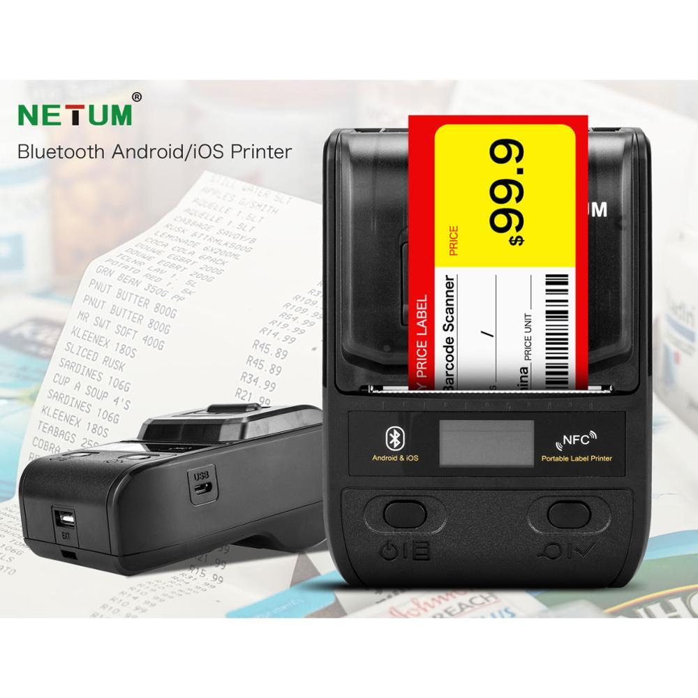 NETUM 58mm drukarka do etykiet przenośna 80mm termiczna drukarka etykiet Bluetooth z akumulatorem kompatybilny z systemem Android iOS