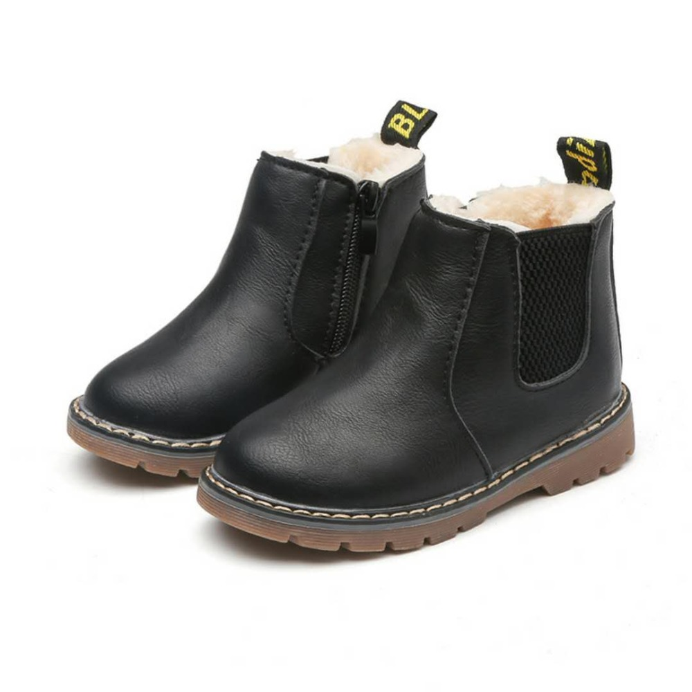 Children Kids Girls Lace Up Ankle Boots Autumn Winter Fur Lined Martin Shoes New