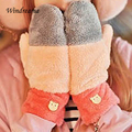 Women Winter Gloves Colorful Warm Plush Glove Cute Little Bear Button 4 Patterns