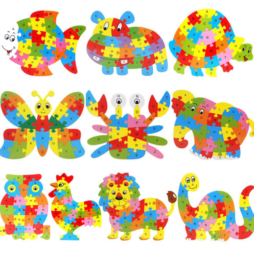 children wooden animal puzzle 2016 fashion jigsaw letter kid learing educational toys puzzles for children