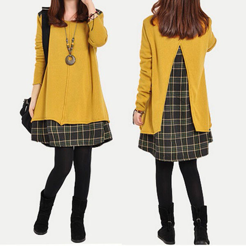 Korean Style Women Dress Long Sleeve Loose Casual Dress Shirts Robe Autumn Femme Vestido Dresses Plaid Dress Plus Size Fake 2pcs