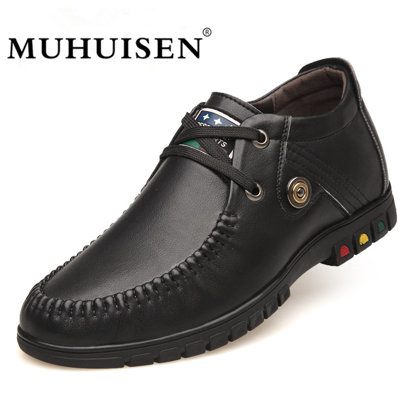 MUHUISEN Brand Men Casual Shoes Fashion Autumn Soft Leather Business Oxfords Shoes Flat Height Increase Elevator Shoes