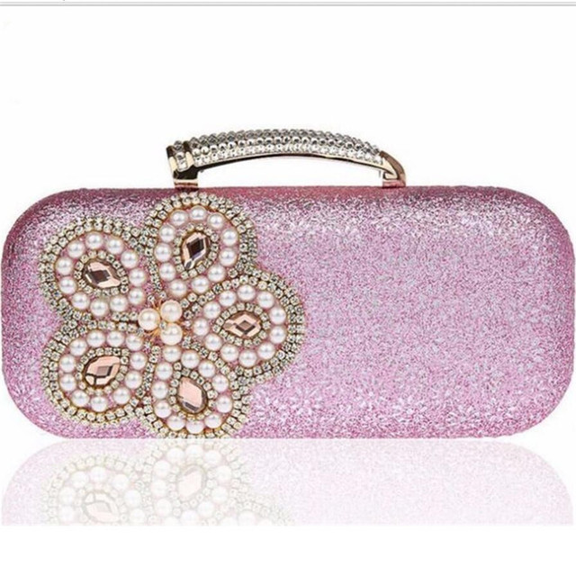 Pearl diamond-studded Evening Bag Women Rhinestone Day Clutch Female Wedding Party Hand Bag Purse Shoulder Chain Handbags ZD489
