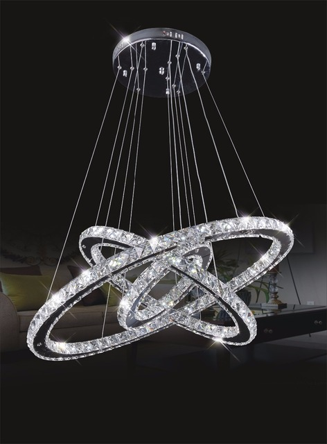 Diamond crystal ring led chandelier crystal lamp modern crystal light fixture circle hanging lustres led luminaire