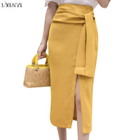 LXUNYI הקיץ החדש חצאיות לנשים חצאית פיצול סקסי תחבושת גבוה מותן OL פורמליות אלגנטי Slim עיפרון חצאית עם חגורה צהוב