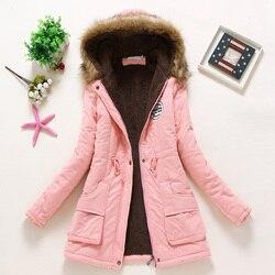 Płaszcz kobiety gruby płaszcz zimowy ciepłe z kapturem kieszenie Slim Faux futro Parka kurtka kobiet 4