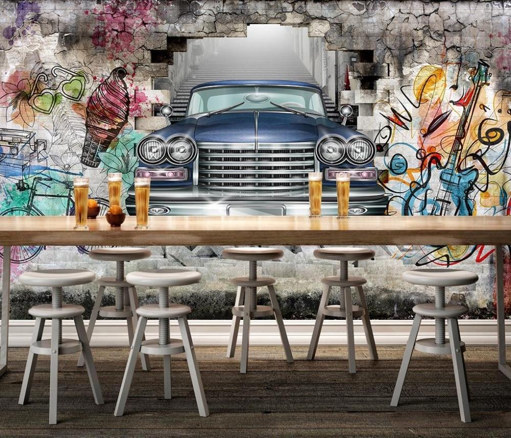 Graffiti wall wallpaper - Home Improvement Graffiti Wall 3d Wallpaper Modern Creative Hand Painted Old Car 3d Wall Murals Living