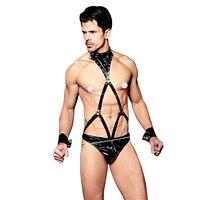 Sexy Lingerie for Men PU Leather Thongs Underwear Male Harness Belts Fetish Bandage Restraints Body Suit Sexy Men Clubwear 9850