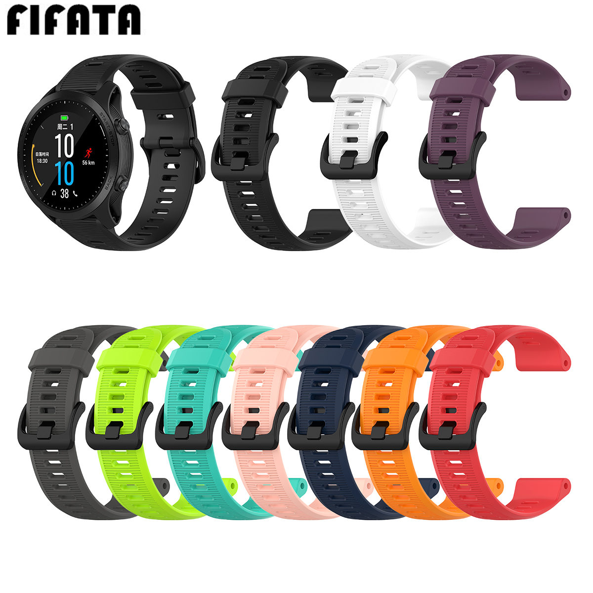 FIFATA Silicone Watch Strap For Garmin Forerunner 945 935 Fienx5/Plus Quatix5 Approach S60 22mm Wristband Replace Accessories