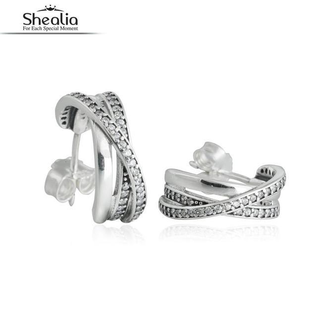 SHEALIA 925-Sterling-Silver CZ Diamond Entwined Half Hoop Earrings For Women Girls bijoux Wedding Engagement Jewelry Accessories