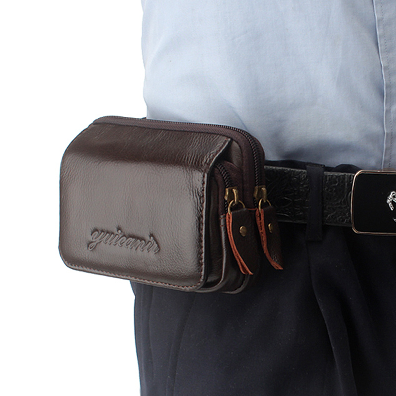 Men Genuine Leather  Cell Mobile Phone Case Cover Purse Cigarette Money Hip Belt Fanny Bag Waist Pack Father Gift