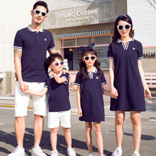 Summer parent-child wear a Family Matching Outfits of three mother and daughter dress father son Tshirt family matching clothes