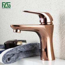 FLG Bathroom Basin Faucet Single Handle Mixer Tap Rose Gold Deck Mounted Hot And Cold Tap Sink Brass Faucet flg basin faucet gold plated