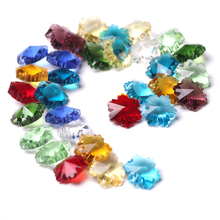 ZHUBI 20pcs 14mm Snowflower Glass Loose Beads With Hanging Hole Crystal Pendants Jewelry DIY Crafts For Charm Bracelets Making 2000 lot 14mm colorful crystal glass beads in 1 hole for crystal chandelier parts home decoration