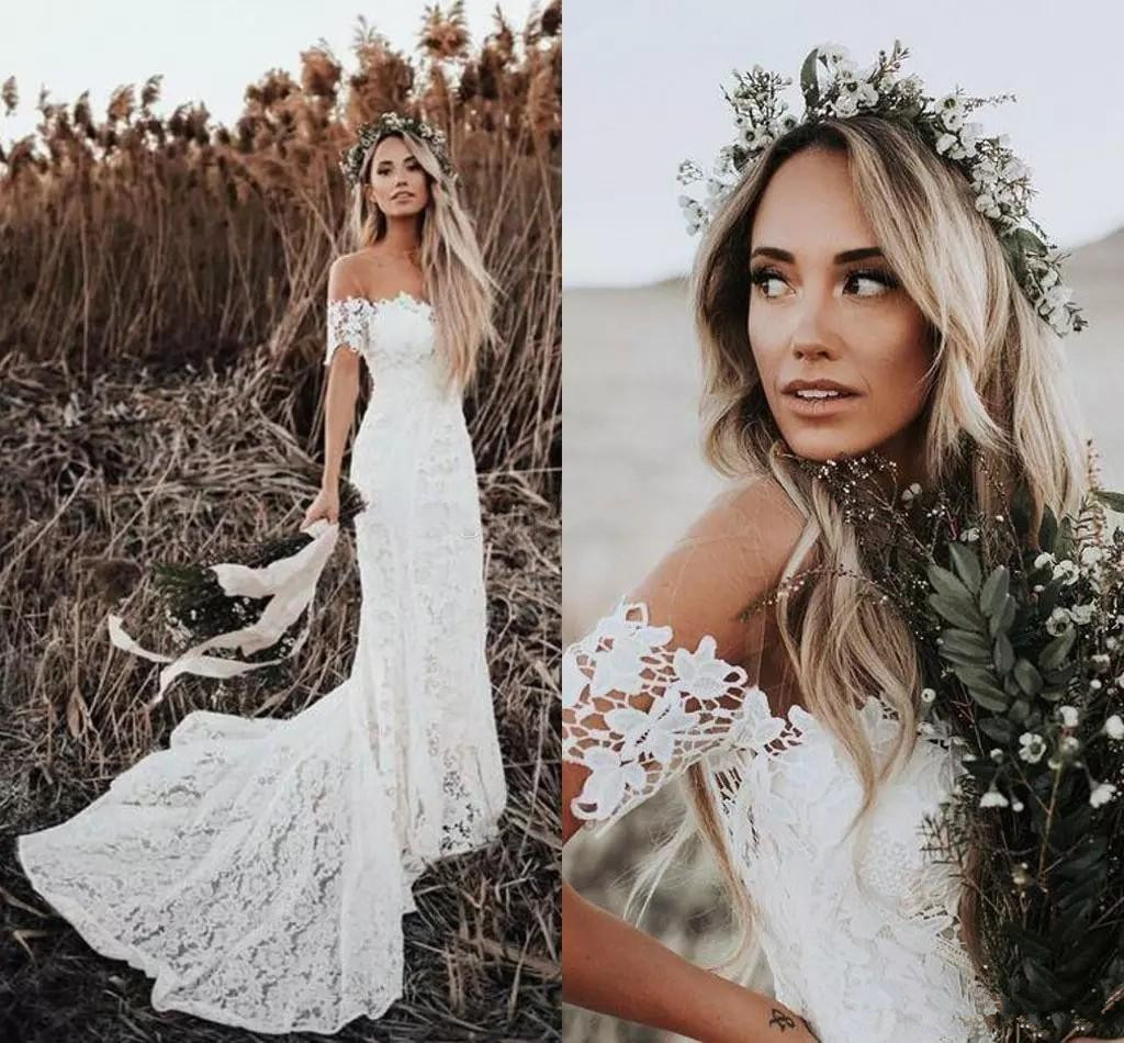 Elegant Boho Lace Wedding Dresses 2019 Country Style Off The Shoulder Short Sleeves Bridal Dresses Beach Wedding Gowns Sweep Tr