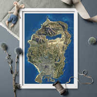 HD GTA5 Satellite Map Canvas Poster Painting Poster And Prints Canvas Game Fun Wall Art For Home Decor Unframed