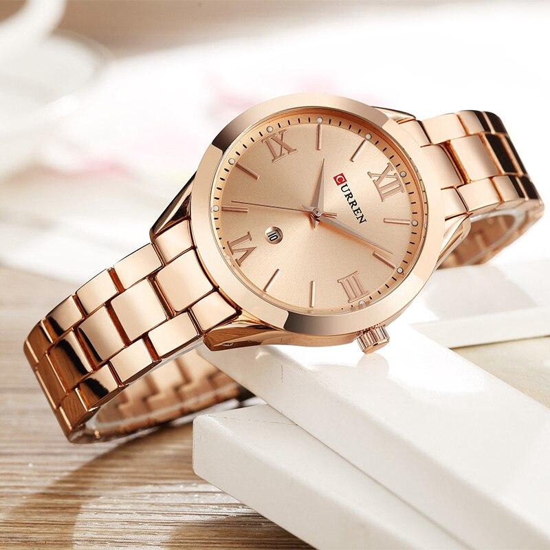 CURREN Relógio de Ouro das Mulheres Relógios Senhoras relógio de Aço Criativo Mulheres Pulseira Relógios Relógio Feminino Relogio feminino Montre Femme