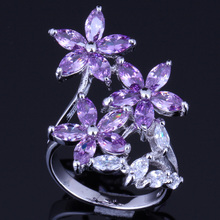 Fabulous Plant Purple Cubic Zirconia 925 Sterling Silver Ring For Women V0098