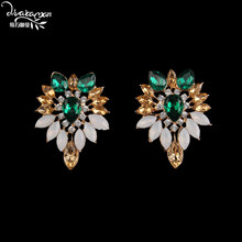 Dvacaman Brand 2017 Gold Plated Indian Wedding Bridal Statement Jewelry Earrings Women Fashion Big Flower Drop Earrings Gift R13