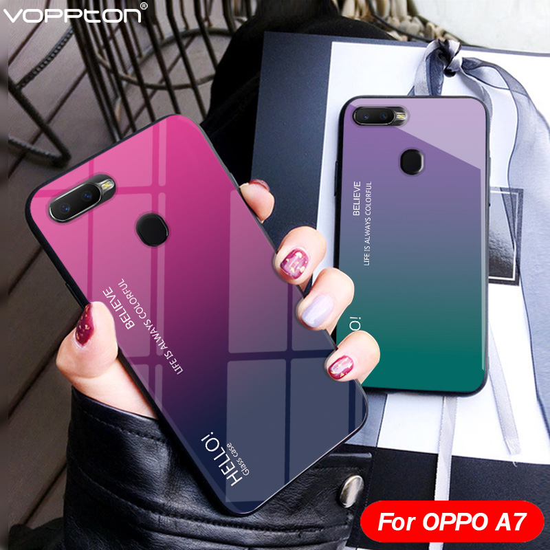 Voppton Gradient Tempered Glass Case For OPPO A7 AX7 Case Cover Silicone Frame Glass Hard Phone Cover For OPPO AX7 6.2'' A 7 image