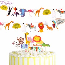 FENGRISE Jungle Party Animal Flags Banners & Accessories Wildlife Cake Topper safari party Paper Flag Baby Shower Decor