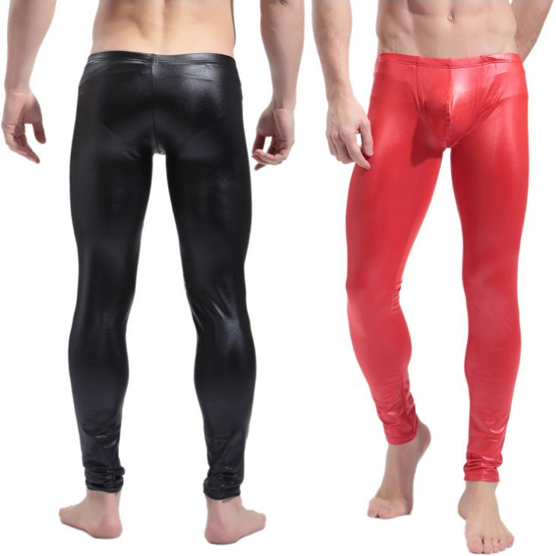 Fashion Men's Black/Red Faux Patent Leather Skinny Pants PU Latex Stretch Leggings Male Gay Sexy Clubwear Bodywear Trousers