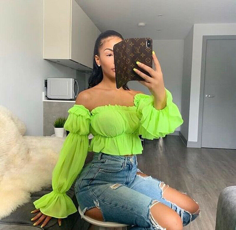 Women Top Blouse Shirt Trendy Chiffon Off Shoulder Slash Neck Loose Pleated Flare Sleeve Ruffle Blouse Sexy Casual Cop Tops