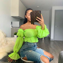 Women Top Blouse Shirt Trendy Chiffon Off Shoulder Slash Nec