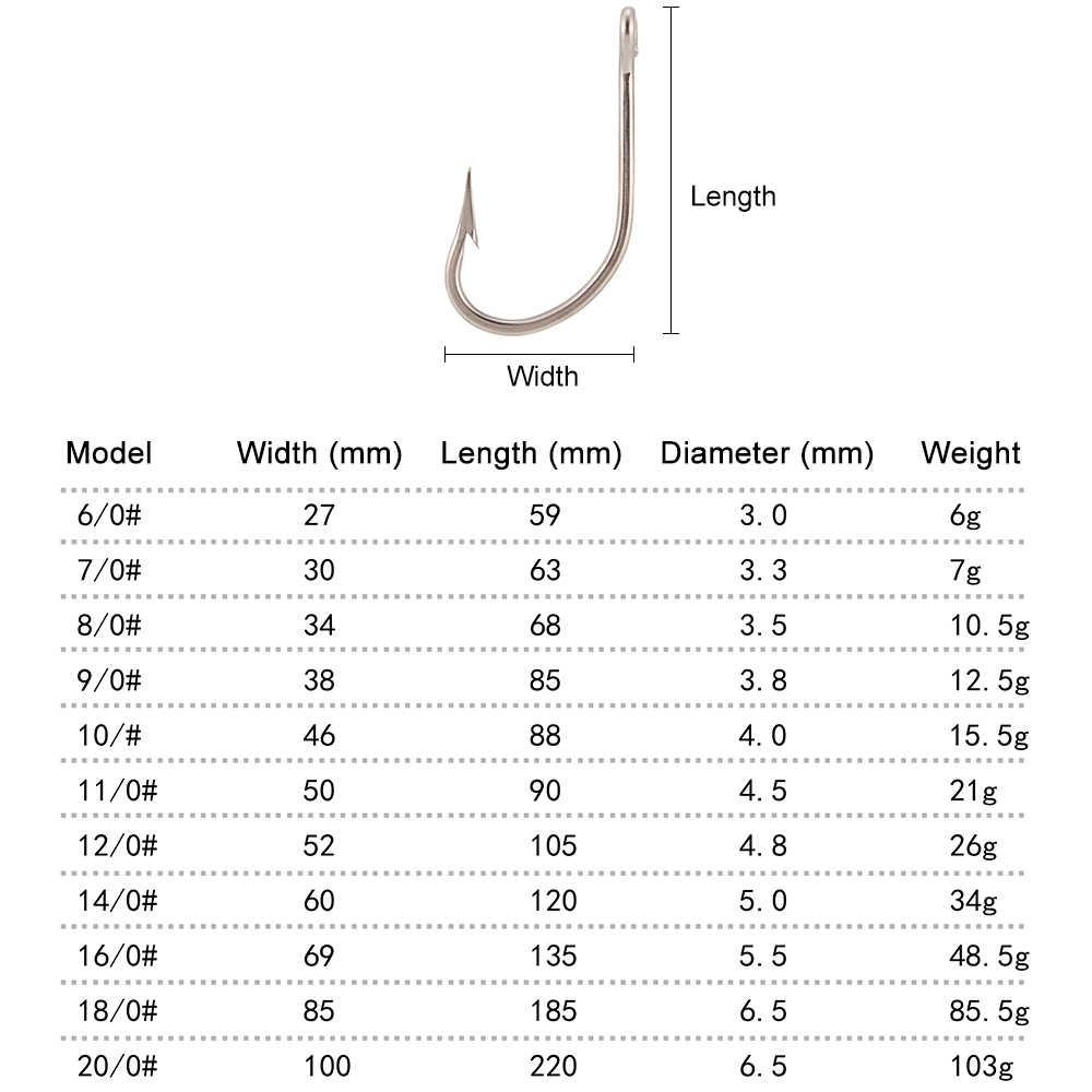 נירוסטה טונה דיג וו תיל גדול משחק קרס דוקרני לנענע וו לנענע ראש עבור טוס דיג אביזרי 6- 20 #