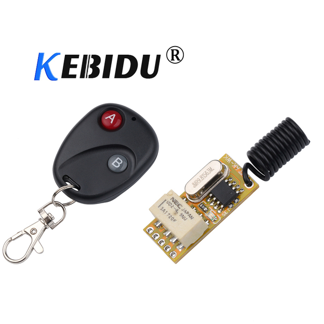 kebidu 3.5 12V Relay Wireless Switch Remote Control Power LED Lamp Controller Momentary Toggle Latched Adjustable Micro Receiver