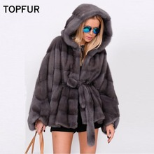 TOPFUR 2019 New Fashion Winter Short Coat Real Fur For Women Natural Mink Outerwear & Coats With Hood Loose Jackets