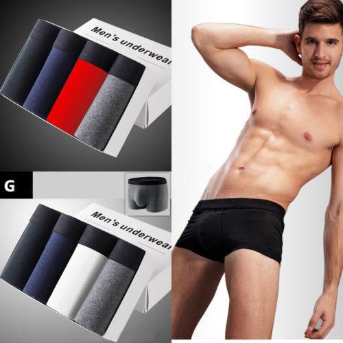 Underwear Cotton Shorts Men's Fashion New Classic Stretch Soft L-3XL 4-Pairs Plain Rich