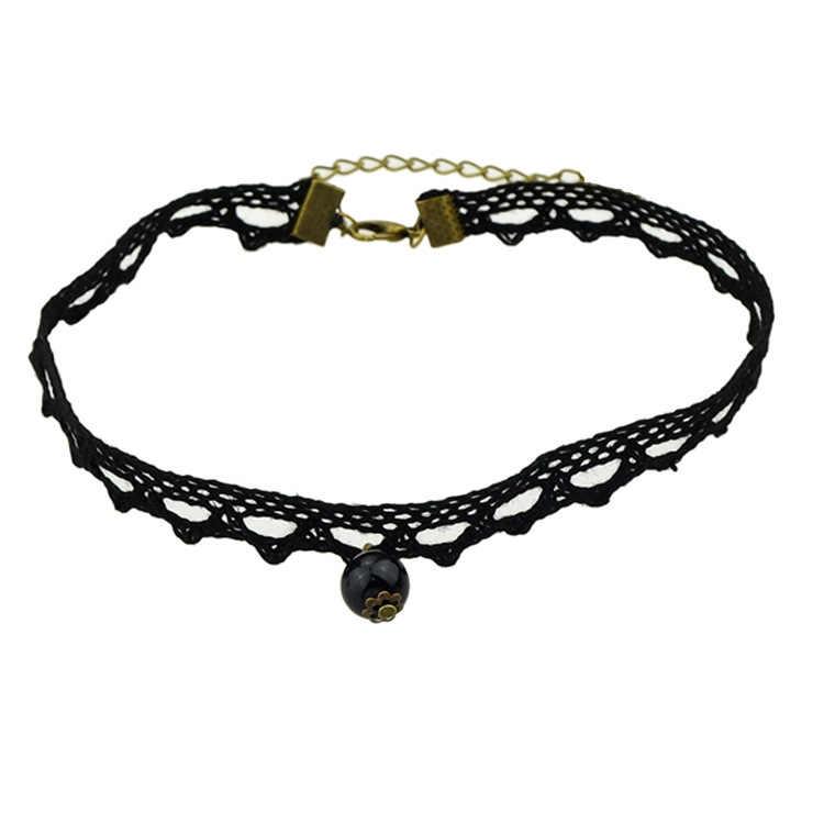 Royal noir dentelle Rose perles mariée Choker colliers et pendentifs pour femmes accessoires gothique déclaration collier