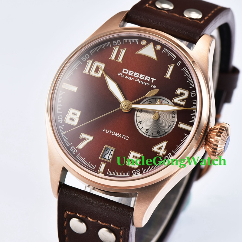 42mm DEBERT Brown Leather Strap sapphire crystal Rosegold Case Coffee Dial power reserve Mens Automatic Watches