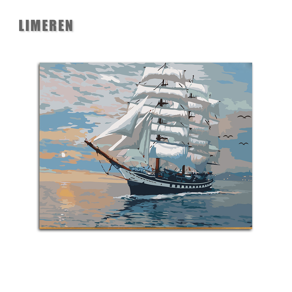 Picture On Wall Acrylic Ships Plain Sailing oil Painting Drawing By Numbers Abstract Gift DIY Amazing Coloring By Numbers Canvas thumbnail