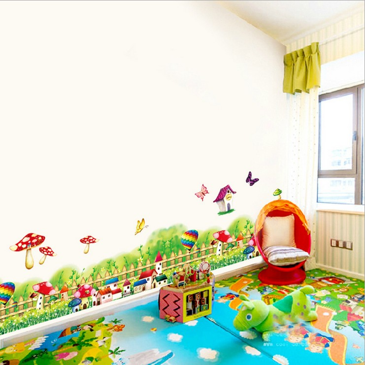 ୧ʕ ʔ୨cartoon mushroom flowers fence wall sticker diy kids room ...