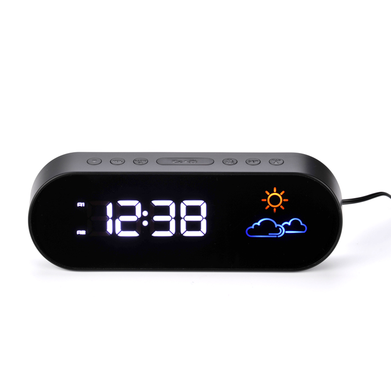 2017 new radio alarm clock LED electronic creative color weather forecast mute digital bedside clock snooze function WITFAMILY
