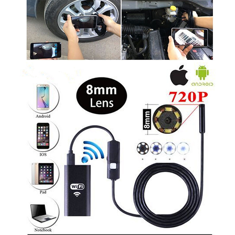 1M HD720P 8mm Lens WIFI Endoscope Camera Snake USB Iphone Android Borescope IOS Tablet Wireless Borescope Camera1M HD720P 8mm Lens WIFI Endoscope Camera Snake USB Iphone Android Borescope IOS Tablet Wireless Borescope Camera