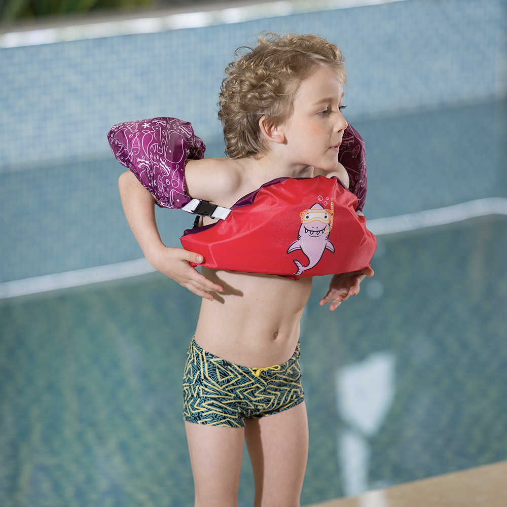 Megartico ребенок детский надувной спасательный жилет малыш детский спасательный жилет Акула вспомогательное средство для плавания поплавок жилет для 2-6 лет жизни жилет нарукавники для плавания полосы