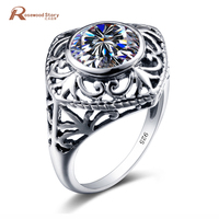 Handmake Unique Jewelry Round Zircon Stone Ring Retro Geniune 925 Sterling Silver Wedding Rings For Women
