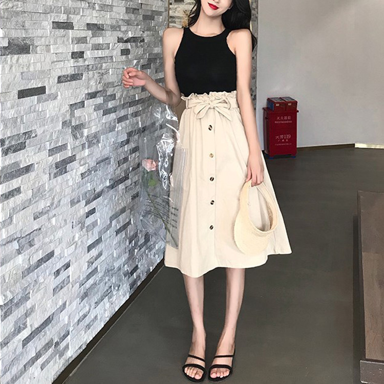 HTB1yMweXtfvK1RjSspfq6zzXFXaB - Summer Autumn Skirts Womens Midi Knee Length Korean Elegant Button High Waist Skirt Female Pleated School Skirt