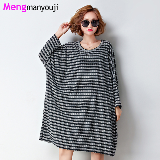 b89fa10951 New Women Autumn Cotton Linen T Shirt Dress Stripes O Neck Long Sleeve  Casual Loose Dresses Black Red T6013 Plus Size Oversize