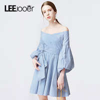 LEEJOOER New Designs 2017 Autumn Winter Dress Women Slash Neck Striped Pleated Fashion Party Casual Mini